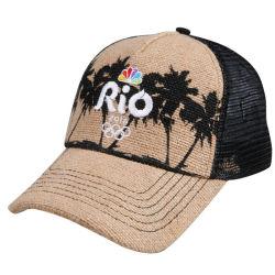 Новые моды летом солома 5 панелей бейсбола сетка с Red Hat