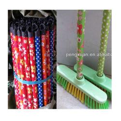 Blumen-Entwurf Kurbelgehäuse-Belüftung beschichtete hölzernen Griff für Besen, Mopp-hölzerner Stock mit kurzer Schutzkappe