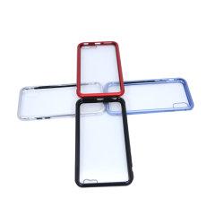 360 도 교체 금속 Kickstand PC PVC 실리콘 안대기를 가진 상표가 붙은 이동 전화 프로텍터 케이스