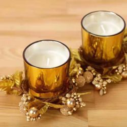Bougie en verre en deux pièces Support pour la décoration de Noël