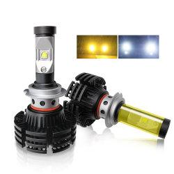 Iluminação automática sem ventiladores 6500K 9005 9006 H7 H11 H4 carro de duas cores lâmpadas LED