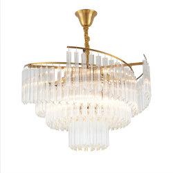 Décoration moderne de l'éclairage de luxe en laiton lustre en cristal de verre