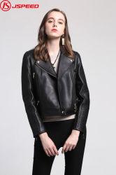 Senhoras Soft Mola fina&Outono pura forma genuína Biker Jacket Mulheres Casacos de couro