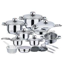 Housewares van het prestige Brede die Rand Cookware van het Roestvrij staal 22PCS van het Kooktoestel van het Keukengerei de Jumbo met Bakpan wordt geplaatst