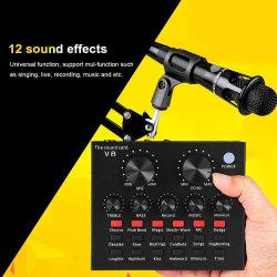 V8 set interface audio USB externe de microphone de scène de la fonction Bluetooth de chanter le meilleur prix Studio Carte son Sound Blaster