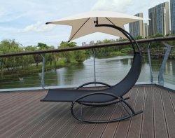 도매 신식 야외 정원 리클라이너 휴대용 Sun 해변 파티오 홈 가구 현대 금속 프레임 직물 라운지 흔들기 의자 우산 캐노피 포함