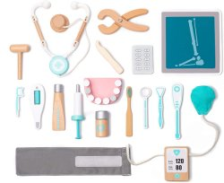 Toddlers、3、4および5年古いGirlsおよびBoysのためのPretend Toy 18 Pieces Dentist Toolbox Medical Kitのための卸し売りWooden Kids Doctor Playset