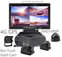 مسجل فيديو رقمي (DVR) محمول رباعي القنوات مزود بتقنية 3G 4G WiFi GPS لإدارة أسطول السيارات كاميرا DVR للناقل والشاحنات شبه المتحركة والمقطورة والشاحنات والسيارة مسجل فيديو رقمي (DVR) للسيارة التجارية