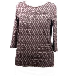 Da nova camisa Placket curtas de moda da luva 3/4 Top Senhora Verão Vestuário Casual