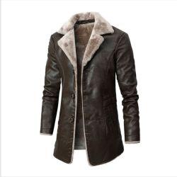 Giacca in pelle media lunghezza OEM uomo′ S Autunno anziani e di mezza età E Winter Business Ouma Plus Velvet grande abito in lapel pelliccia Giacca di lusso da uomo