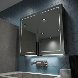 Banho de alumínio armário de remédios com porta dupla cozinha interiores de luxo Organizador de armazenamento