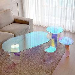 Salle à manger moderne aux couleurs vives irisé de mode de réception TV côté salon de thé Table à café en acrylique