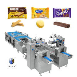 Kitech Oblate/Plätzchen/Biskuite/Kuchen/Süßigkeit-Schokoriegel-Nahrungsmittelkissen-automatischer Fluss-Servoverpackenverpackung, die Dichtungs-Maschinen-Preis einwickelt