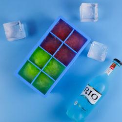 شعار الطباعة المخصصة خالٍ من مادة BPA الأطعمة الكبيرة 8 تجويف صينيات جليد من السيليكون