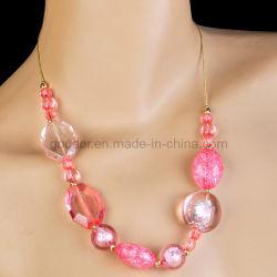 Collier de perles en céramique de couleur rose (GD-AC168)