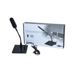Hot Sales Reunión remota micrófono de cuello de ganso con conexión USB Interruptor de encendido/apagado inteligente, altavoz profesional con audio