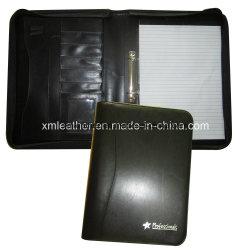 Dispositivo di piegatura di cuoio rilegato smontabile di presentazione di congresso del raccoglitore di anello con il blocchetto per appunti