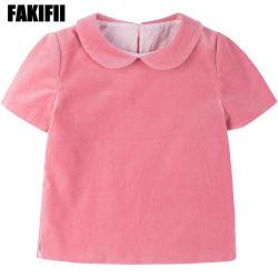 Soem-Herstellungs-Marke kundenspezifische Entwurfs-Kinder, die Mädchen-Baumwollrosa-Samt-Blusen-langes Hülsen-Herbst-Hemd kleiden
