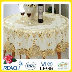 PVC Lace Gold Crochet tabletloth 둥근 180cm 웨딩/파티 데코. (JFTB-007B)
