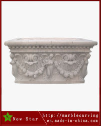 Piantatrice di marmo bianca del POT di fiore per la decorazione del giardino