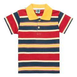 Korte Koker 100% van de manier Overhemd van het Katoenen het Gestreepte Polo van Jonge geitjes (PS063W)