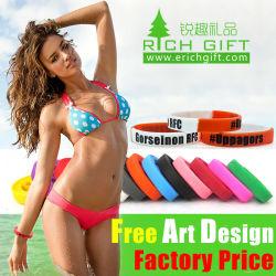 Ecológica Debossed promocionales pulsera de silicona personalizadas ilustraciones libres