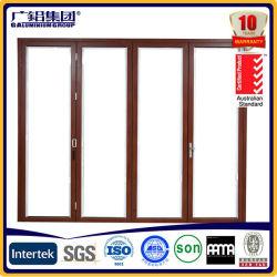 Porte coulissante et pliante en bois d'aluminium à économie d'énergie