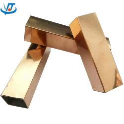Tubo 25X25mm del quadrato dell'acciaio inossidabile dell'oro dei 304 titanio