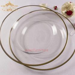 Элегантный Lead-Free из прозрачного стекла золотой рельефная зарядное устройство пластины