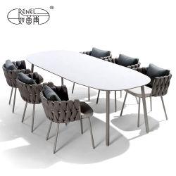 Modernes Haupthotel-Gaststätte-handgemachtes Rattan-Weidenseil, das gesponnene Wedding Stuhl-Tisch-Garten-Patio-im Freien speisende Aluminiumtisch-Stuhl-Sofa-gesetzte Möbel spinnt