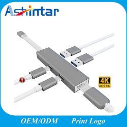 5 in 1 Tipo-c mozzo del USB della stazione di aggancio con mozzo USB3.0 & USB2.0 & funzione di dati & del palladio di USB-C & 4K