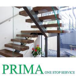 Прочной деревянной лестнице шаги L-образный металлическая лестница с отделкой из закаленного стекла