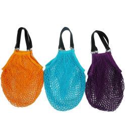 Weiche Baumwollineinander greifen-Beutel/NettoEinkaufstasche mit PU-Griffen