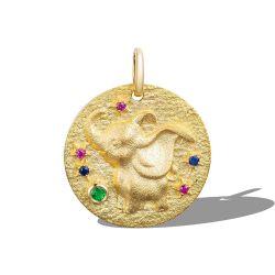 Настраиваемые мини моды парикмахерский салон 925 стерлингов серебряные медали печатка 18K желтый медаль с золотым покрытием ожерелья Кулон с Сапфир