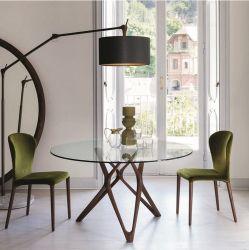 2019新しいArrivialの方法ホテルの家具のガラスダイニングテーブルの灰の純木ベース