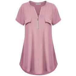 De la mujer casual y cómoda cuadros escoceses con cuello en V Short-Sleeved blusa