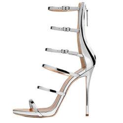Frauen-reizvolle Strappy Gladiator-Hochzeits-Sandelholz-Absatz-Stilett-Schuhe