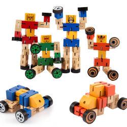 Woode trasforma il puzzle dell'automobile del robot per i capretti 2 anni sui giocattoli educativi per le ragazze dei ragazzi dei bambini del bambino che costruiscono il giocattolo di trasformazione con la cassaforte luminosa del bambino di colore
