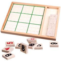 목조 어린이 몬타소리 교육용 장난감 수 수학 퍼즐 체스 보드 게임