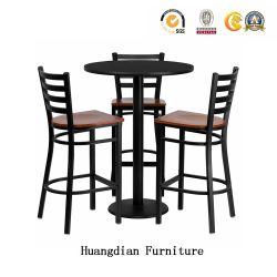 Pub personalizado simple mobiliario sillas de madera maciza mesa de bar y taburetes Set (HD1509)