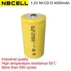 De industriële Navulbare Batterij van D 4000mAh van de Grootte NiCd van Ni-CD van de Kwaliteit 1.2V
