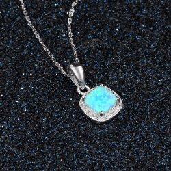 Commerce de gros de bijoux de mode Square Blue Sterling Silver Necklace bijoux d'Opale