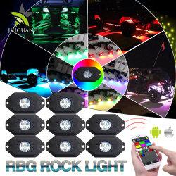 van LEIDENE van het Neon van de Koplamp van de Peulen van de Weg Worklights 8 Veelkleurige Lichte RGB Auto LEIDENE Koplamp