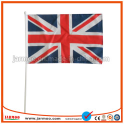 Commerce de gros 100% polyester imprimé drapeau UK main avec le pôle en plastique
