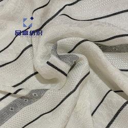 Py2029ビスコースレーヨンファブリック服のブラウスのためののようなジャカードによって編まれるデザイン128GSM白く黒い絹