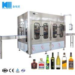 Bouteille de verre automatique de l'alcool boivent du whisky Vodka remplissage à laver le plafonnement de l'alcool de vin de raisin rouge spiritueux le rinçage de l'embouteillage d'étanchéité de la ligne de production d'emballage