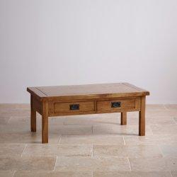 Vintage Chêne rustique en bois massif tiroir table à café