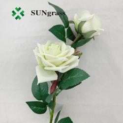 2 cabeças de Seda Artificial Rose Bundle Fake Rose Branco Verde bouquet de flores de aniversário de casamento festa de decoração