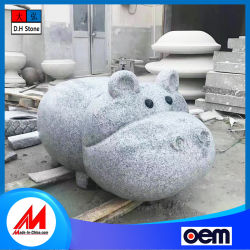 L'artisanat sculptés à la main la sculpture de jardin, beige/statue de pierre de marbre blanc animal pour le jardin de sculpture