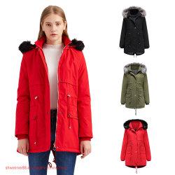 Venda por grosso de algodão velo mulheres Parka militares encapuzados peles Piscina Puffer Coat casaco para aquecer Senhora cubra as mulheres o Inverno casacos compridos de valas